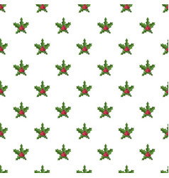 christmas red berry pattern seamless vector image