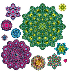 Colorful round ornaments kaleidoscope floral patte vector