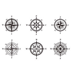 compasses isolated icons rose wind nautical vector image