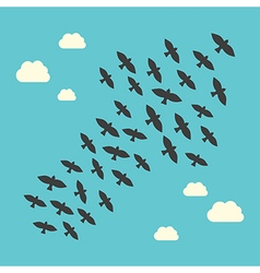 Conceptual birds flying upwards vector