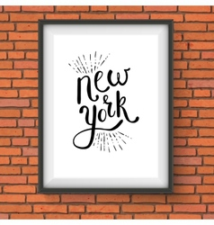 Conceptual New York Texts on a White Frame vector image