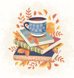 cozy autumn cup coffee or tea and some books vector image