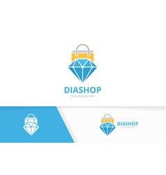diamond and shop logo combination jewelry vector image