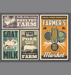 Farm chicken rooster and pig goat and vegetables vector