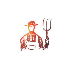 Farmer man agriculture farming harvest concept vector