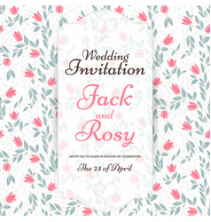 Floral style wedding invitation vector