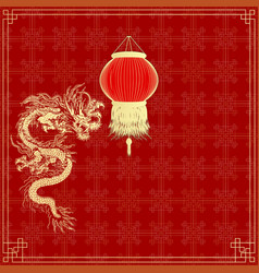 Golden Chinese dragon on a red background vector