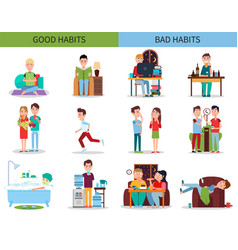 good and bad habits collection vector image