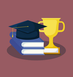 Graduation card with books and hat graduation vector