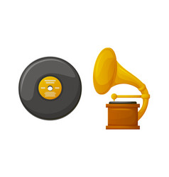 gramophone with vintage vinyl plate stereo icons vector image