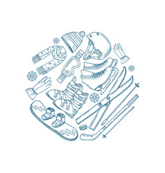 hand drawn winter sports equipment circle vector image