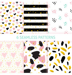 happy mothers day trendy seamless patterns vector image