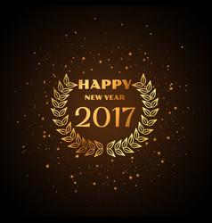 happy new year golden text with laurel wreath vector image