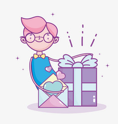 Happy valentines day boy with gift box and letter vector
