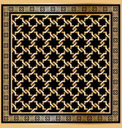 head scarf golden pattern on black background with vector image