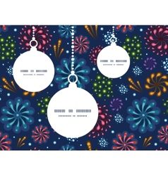 Holiday fireworks christmas ornaments silhouettes vector
