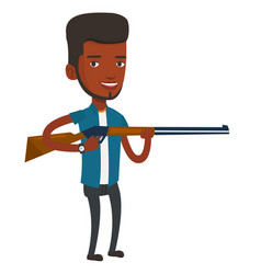 hunter ready to hunt with hunting rifle vector image