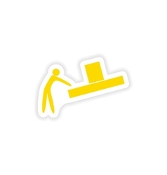 Icon sticker realistic design on paper loader box vector