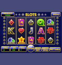interface slot machine complete menu of vector image