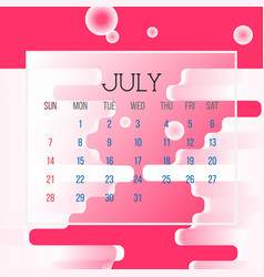 july 2019 calendar leaf vector image