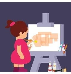 kid girl drawing painting to get creative vector image