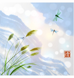 Leaves of grass and clouds in blue sky vector