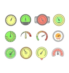 line meter icon set speedometers vector image