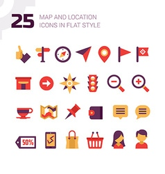 Location and Navigation Map Icons vector