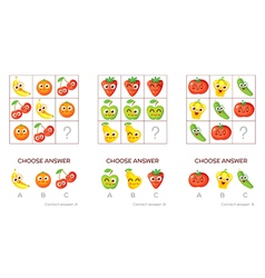 Logical tasks made up of fruits and vegetables vector