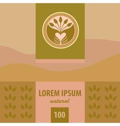 Logo and labels planting tea plantation morning vector