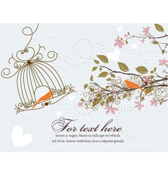 love birds with floral vector image