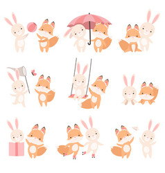 lovely white little bunny and fox cub playing vector image