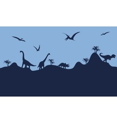 Many dinosaur in hills scenry silhouette vector