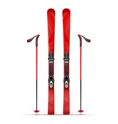 mountain ski and stick vector image
