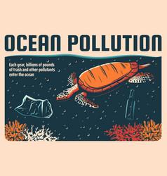 ocean pollution retro poster sea water protection vector image
