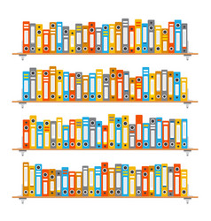 Office bookshelves with folders set in flat style vector