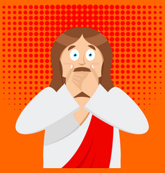 omg jesus is facepalm pop art oh my god christ vector image