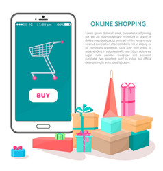online shopping poster buy button on smartphone vector image