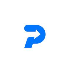 p letter logo arrow icon vector image