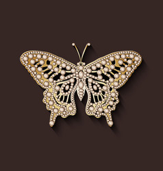 pearl brooch butterfly vector image