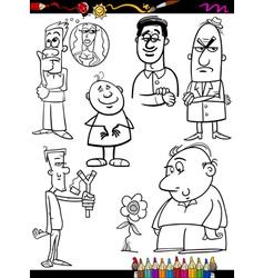 people set cartoon coloring page vector image
