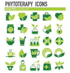 Phytoterapy icons set on white background for vector