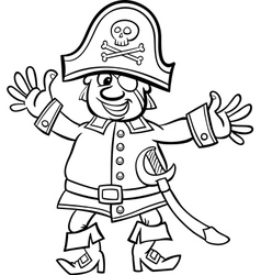 pirate captain cartoon for coloring book vector image