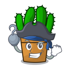 Pirate spurge cactus in a flowerpot cartoon vector