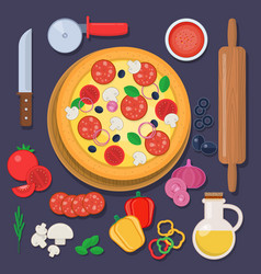 Pizza with baking ingredients and rolling pin vector