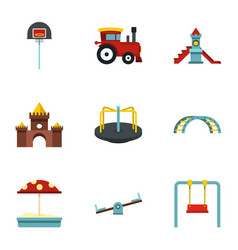 playground equipment icons set flat style vector image vector image