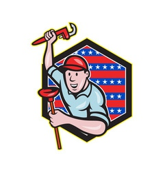 Plumber with monkey wrench and plunger cartoon vector