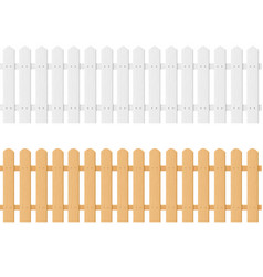 realistic detailed 3d white and brown wood fence vector image