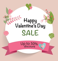 Sale Coupon voucher tag Valentines Day card vector
