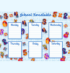 School timetable weekly schedule with numbers vector